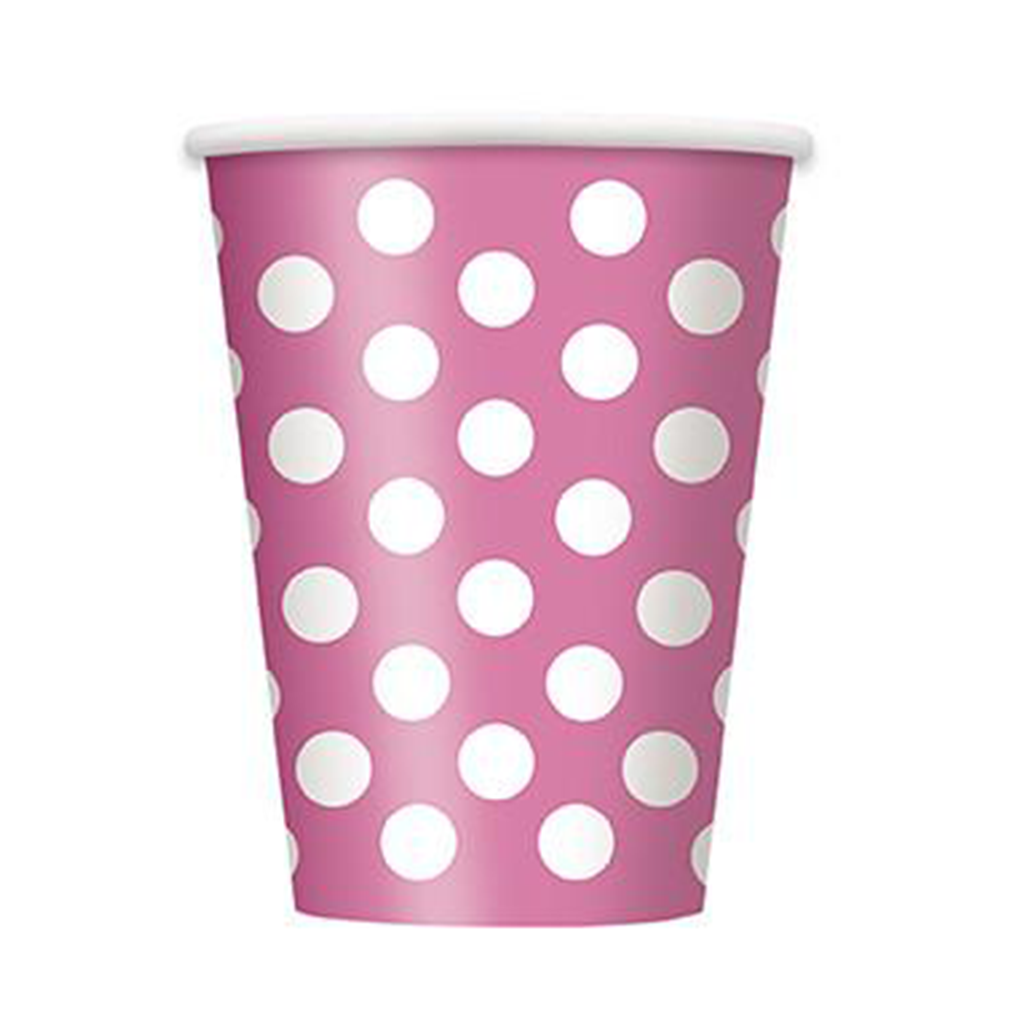 6 Hot Pink Dots 12oz Cups from Pop Cloud Bristol who offer a huge range of partyware, wedding and event hire decorations