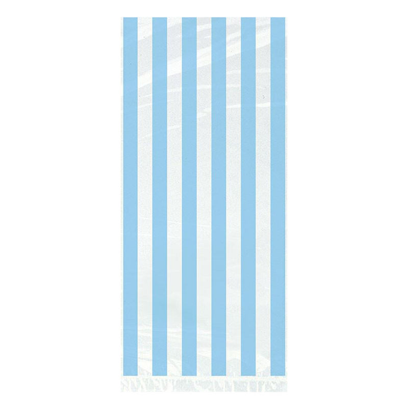 20 POWDER BLUE STRIPE CELO BAGS from Flingers Party World Bristol Harbourside who offer a huge range of fancy dress costumes and partyware items