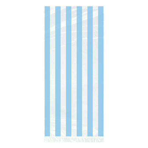 20 Powder Blue Stripe Celo Bag 5x1 from Pop Cloud Bristol who offer a huge range of partyware, wedding and event hire decorations