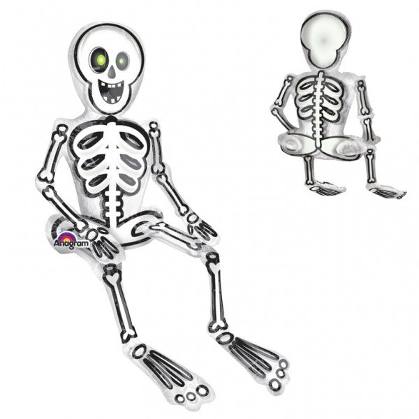 SITTING SKELETON FOIL BALLOON from Flingers Party World Bristol Harbourside who offer a huge range of fancy dress costumes and partyware items