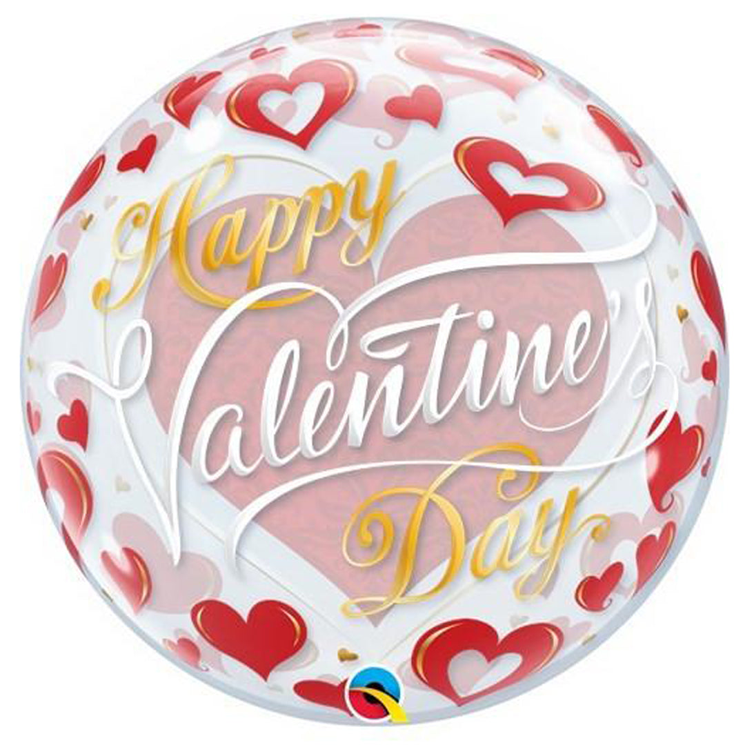 VALENTINE'S RED HEARTS BUBBLE BALLOON