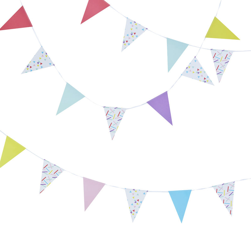 Pick & Mix Sprinkles Mini Bunting from Pop Cloud Bristol who offer a huge range of partyware, wedding and event hire decorations