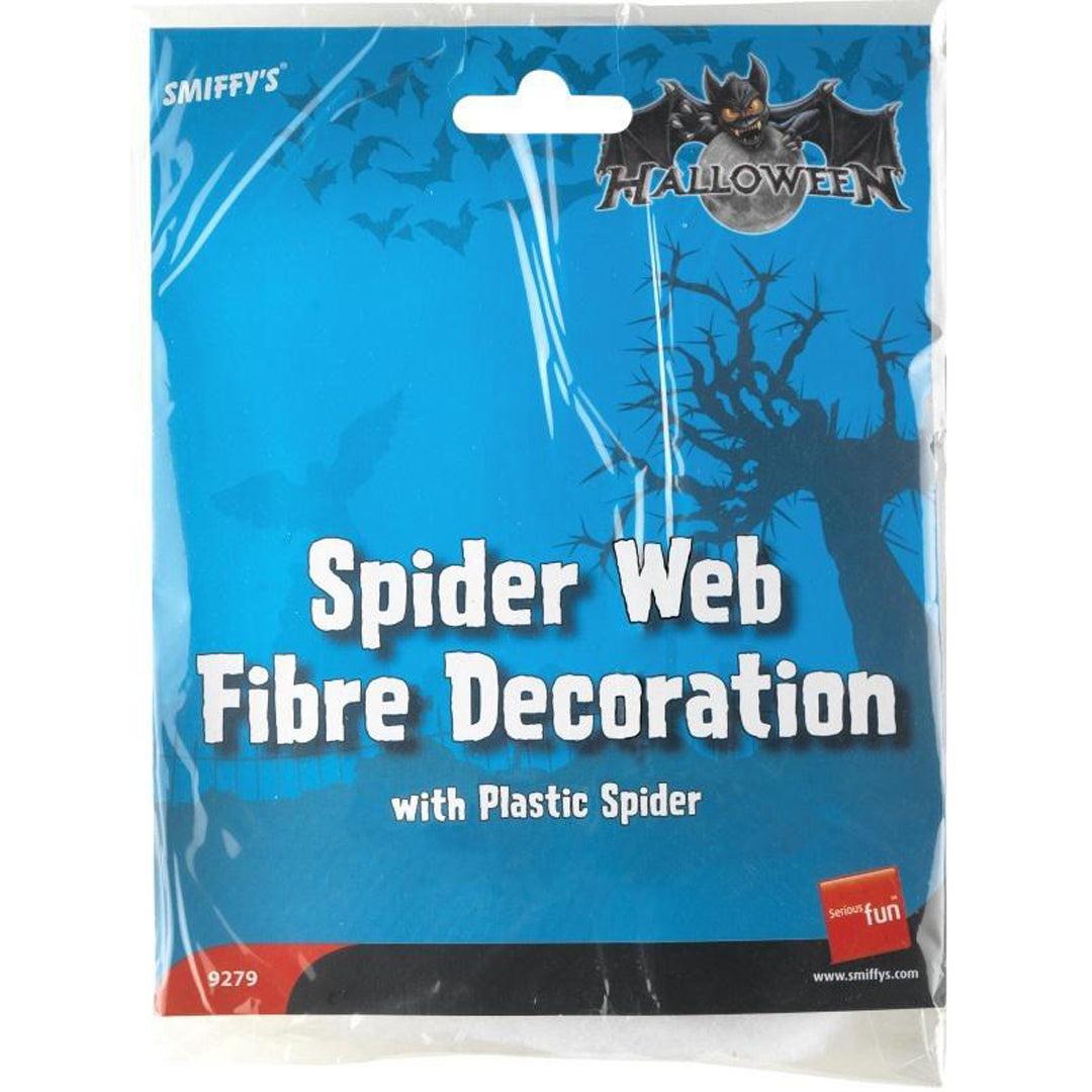 SPIDER WEB FIBRE DECORATION & SPIDER from Flingers Party World Bristol Harbourside who offer a huge range of fancy dress costumes and partyware items