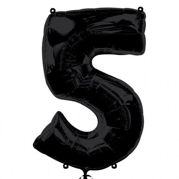 BLACK 5 LARGE NUMBER FOIL BALLOON from Flingers Party World Bristol Harbourside who offer a huge range of fancy dress costumes and partyware items