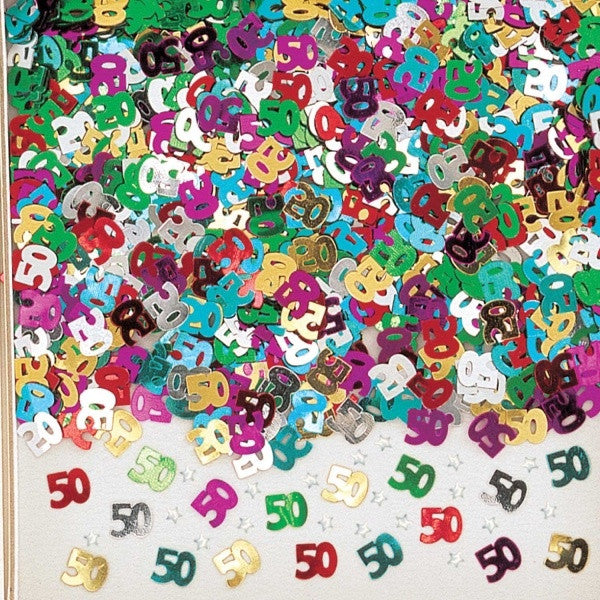 NUMBER 50 MULTI COLOUR METALLIC CONFETTI from Flingers Party World Bristol Harbourside who offer a huge range of fancy dress costumes and partyware items
