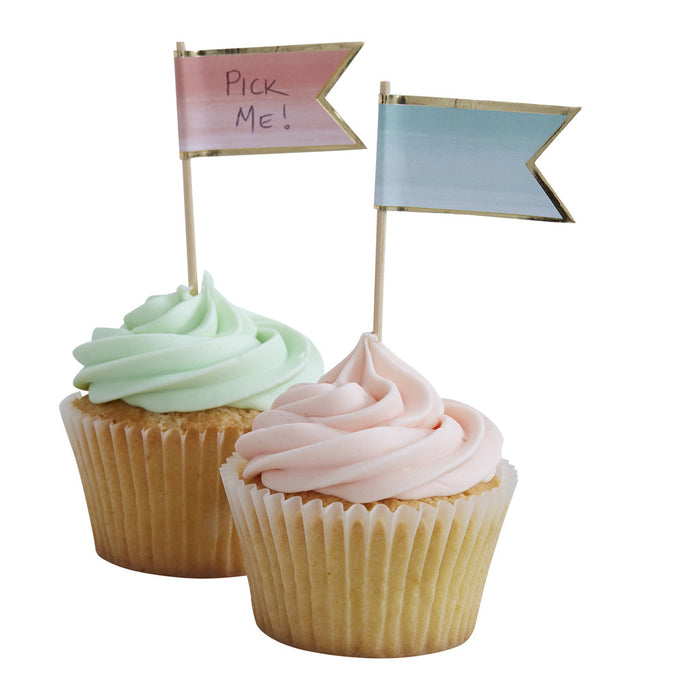 Pick & Mix Ombre Cup Cake Sticks from Pop Cloud Bristol who offer a huge range of partyware, wedding and event hire decorations