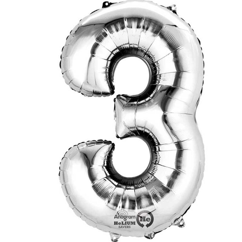 SILVER 3 LARGE NUMBER FOIL BALLOON from Flingers Party World Bristol Harbourside who offer a huge range of fancy dress costumes and partyware items