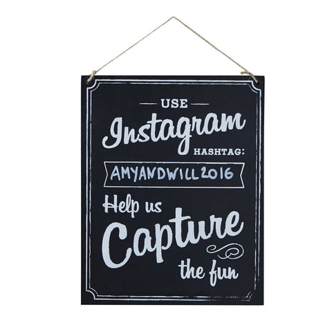 Instagram Wedding Wooden Sign from Pop Cloud Bristol who offer a huge range of partyware, wedding and event hire decorations