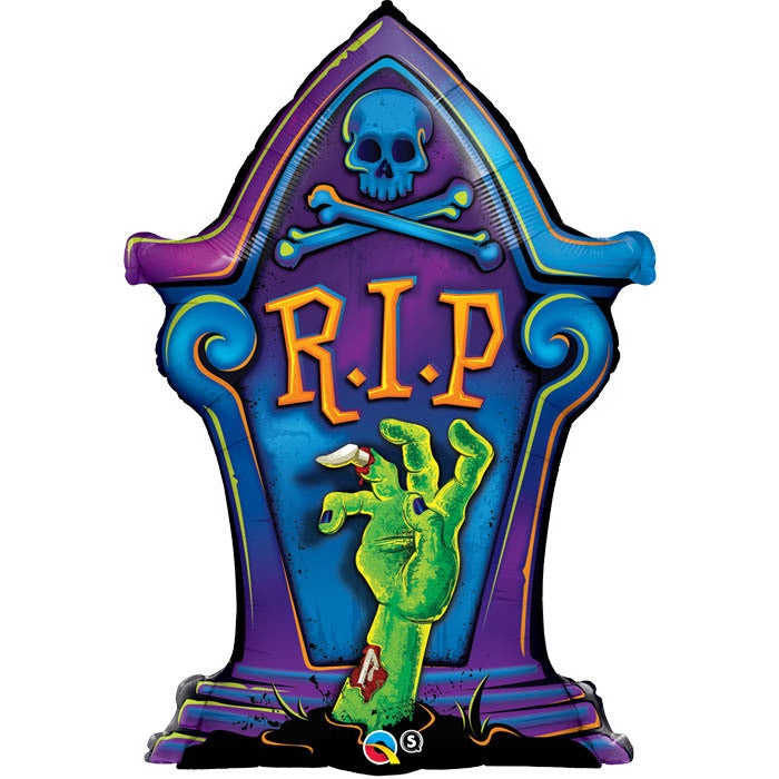 "R.I.P TOMBSTONE 36"" FOIL BALLOON from Flingers Party World Bristol Harbourside who offer a huge range of fancy dress costumes and partyware items"