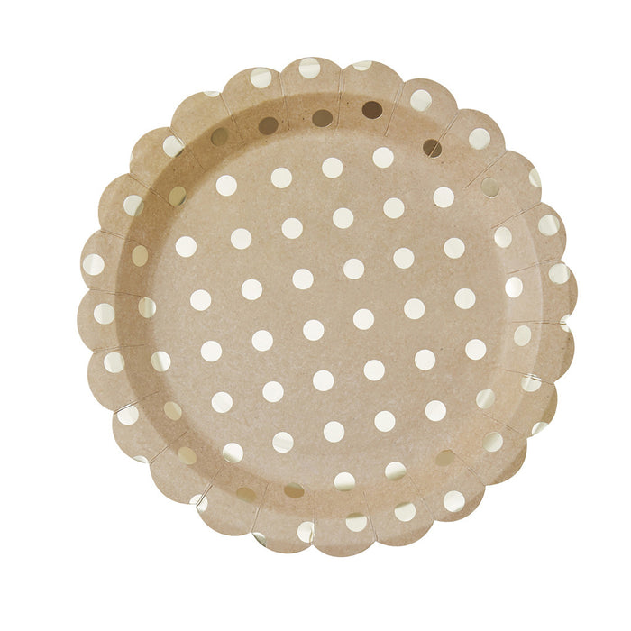 Pick & Mix Kraft Polka Dot Paper Plates from Pop Cloud Bristol who offer a huge range of partyware, wedding and event hire decorations