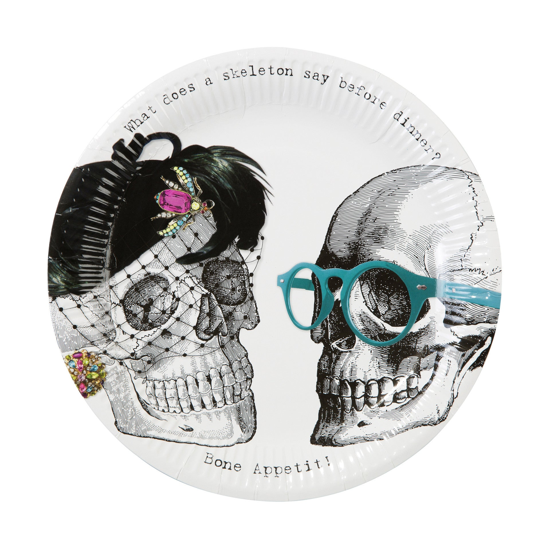 SKELETON CREW PAPER PLATES from Flingers Party World Bristol Harbourside who offer a huge range of fancy dress costumes and partyware items