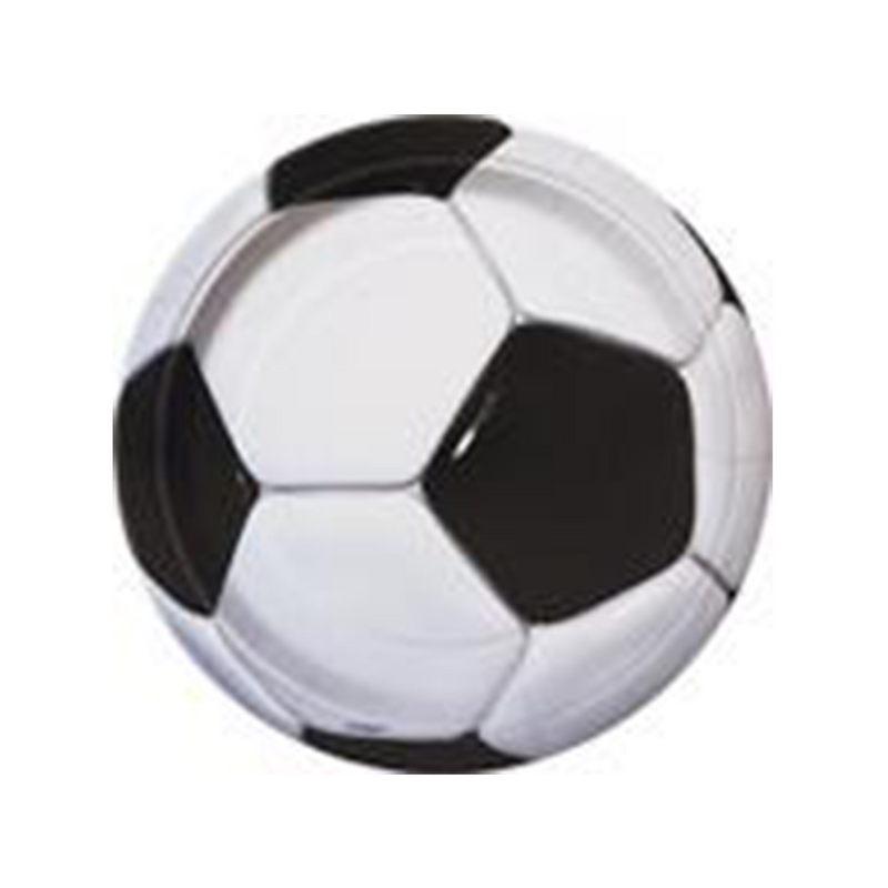 "8 3D Soccer 9"" Plates from Pop Cloud Bristol who offer a huge range of partyware, wedding and event hire decorations"