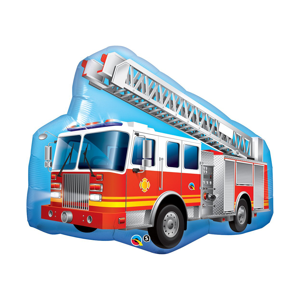 "Red Fire Truck 36"" Shape from Pop Cloud Bristol who offer a huge range of partyware, wedding and event hire decorations"