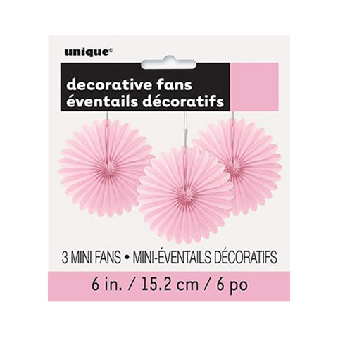 "3 Decor Fan 6"" Lovely Pink from Pop Cloud Bristol who offer a huge range of partyware, wedding and event hire decorations"