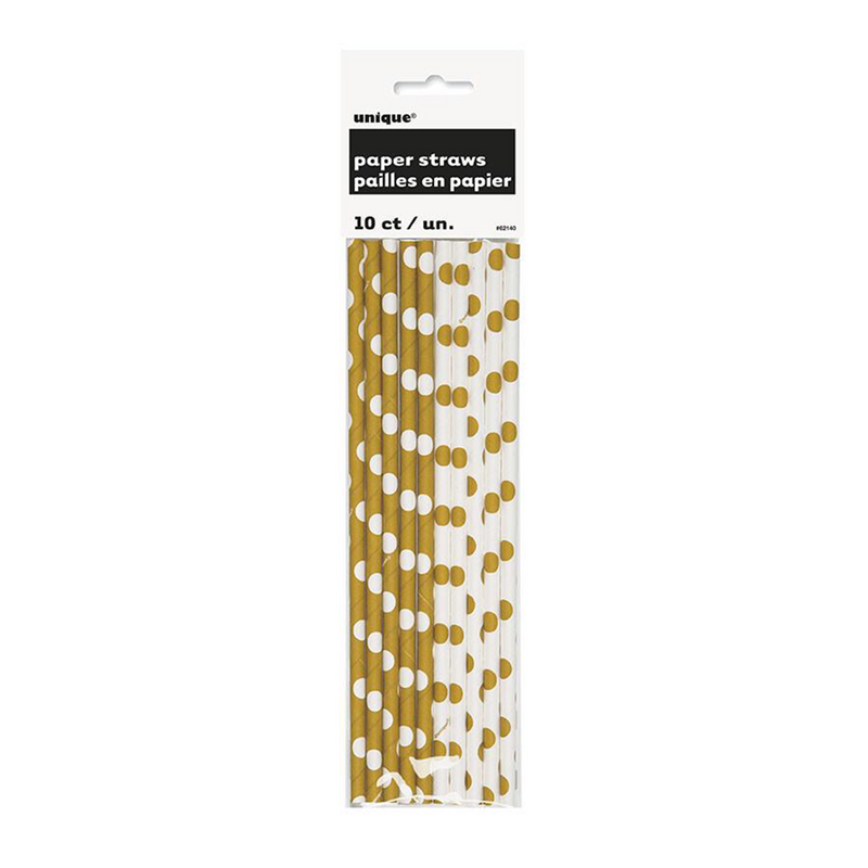 GOLD AND WHITE POLKA DOT PAPER STRAWS from Flingers Party World Bristol Harbourside who offer a huge range of fancy dress costumes and partyware items