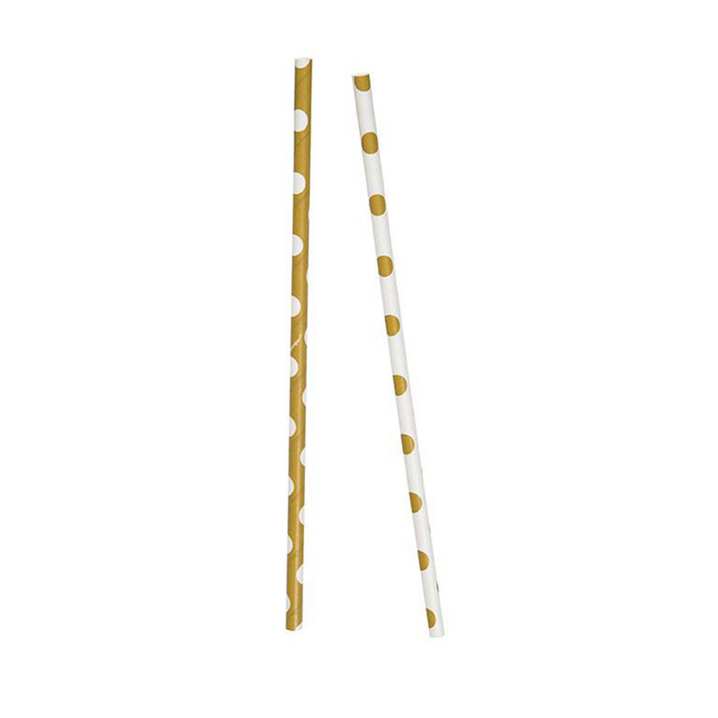 Gold and White Polka Dot Paper Straws x 10 from Pop Cloud Bristol who offer a huge range of partyware, wedding and event hire decorations