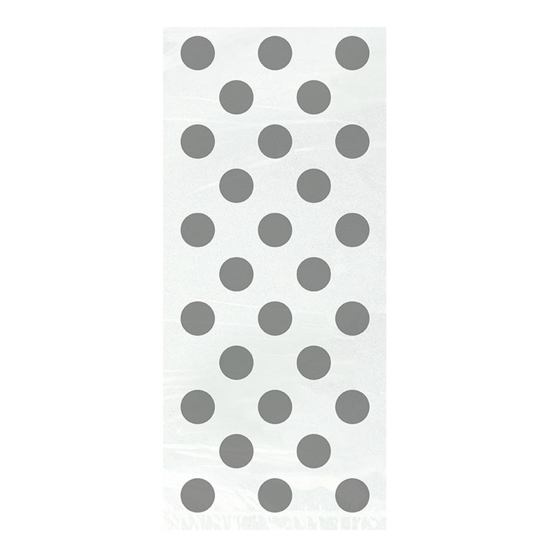20 SILVER DOT CELO BG 5X11 from Flingers Party World Bristol Harbourside who offer a huge range of fancy dress costumes and partyware items
