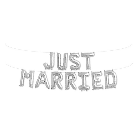 "Just Married 16"" Air-Filled Balloon Banner Kit from Pop Cloud Bristol who offer a huge range of partyware, wedding and event hire decorations"