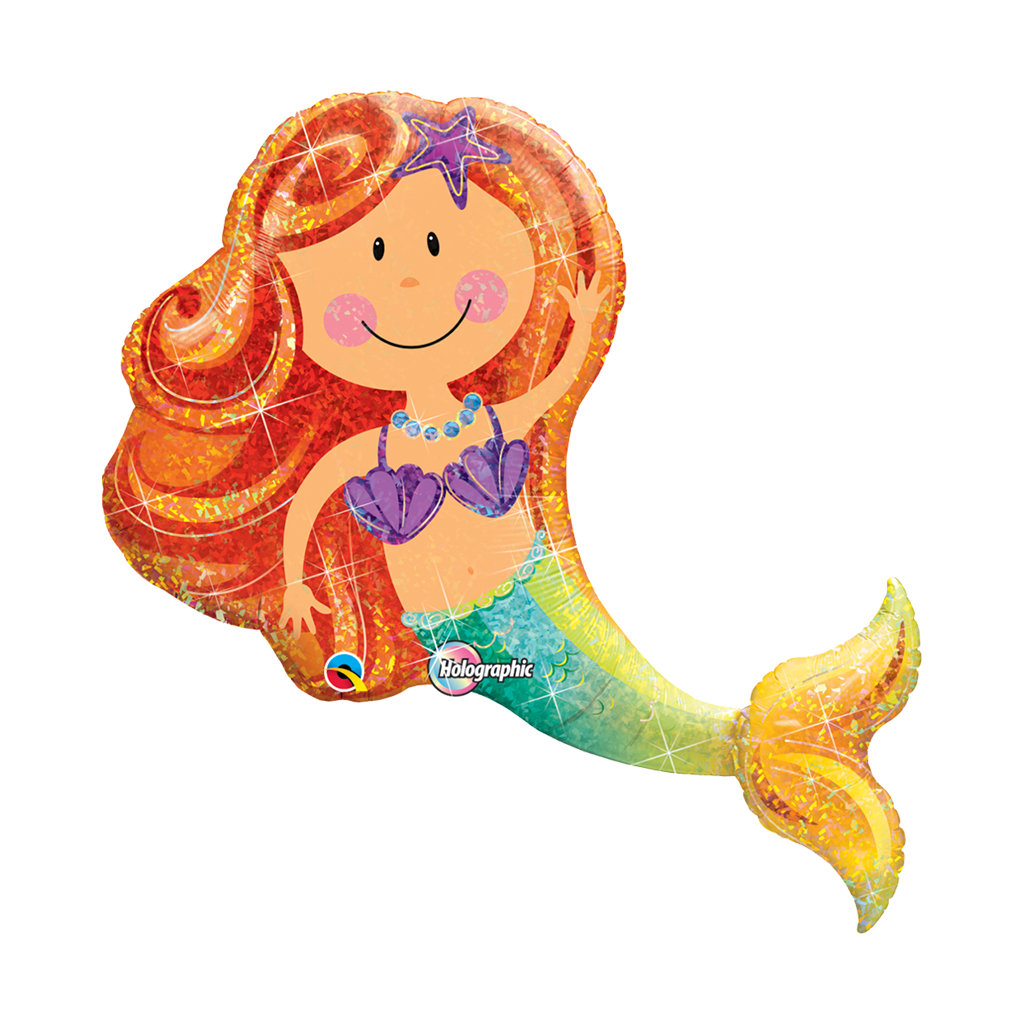 "Merry Mermaid 38"" Shape Holograph from Pop Cloud Bristol who offer a huge range of partyware, wedding and event hire decorations"