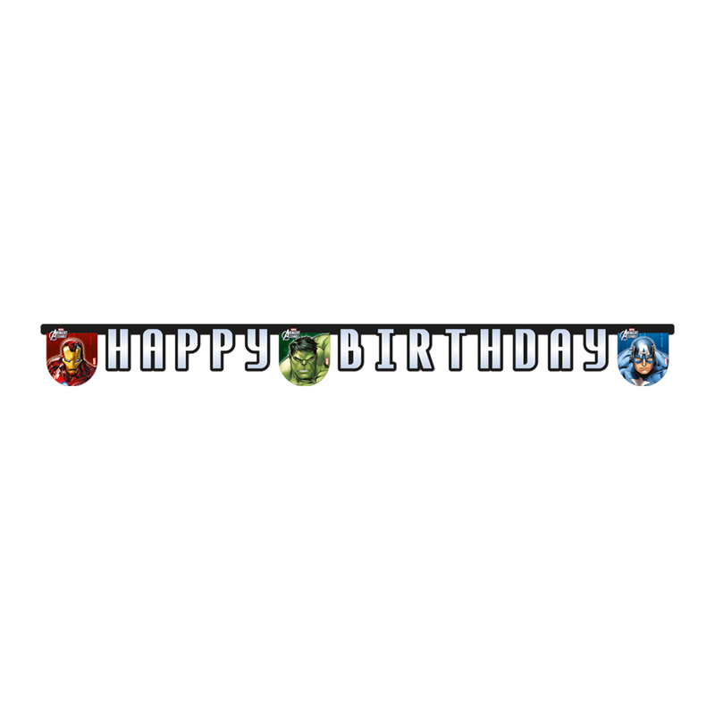 AVENGERS POWER HAPPY BIRTHDAY BANNER from Flingers Party World Bristol Harbourside who offer a huge range of fancy dress costumes and partyware items