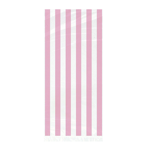 20 Lovely Pink Stripe Celo Bag 5x11 from Pop Cloud Bristol who offer a huge range of partyware, wedding and event hire decorations
