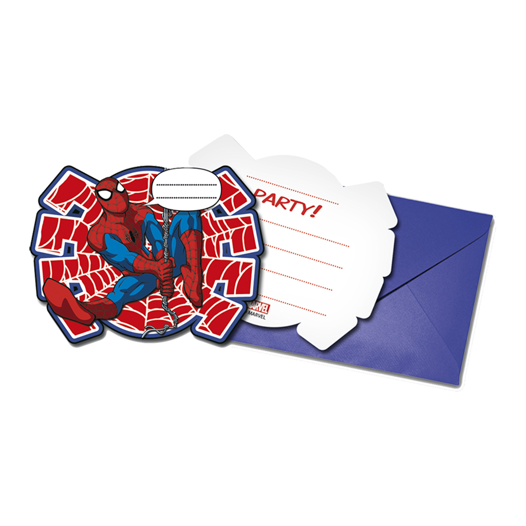 ULTIMATE SPIDERMAN INVITATIONS & ENVELOPES from Flingers Party World Bristol Harbourside who offer a huge range of fancy dress costumes and partyware items