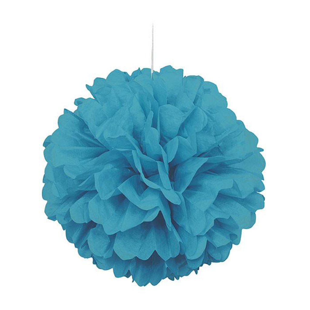 TEAL PUFF DECORATION from Flingers Party World Bristol Harbourside who offer a huge range of fancy dress costumes and partyware items