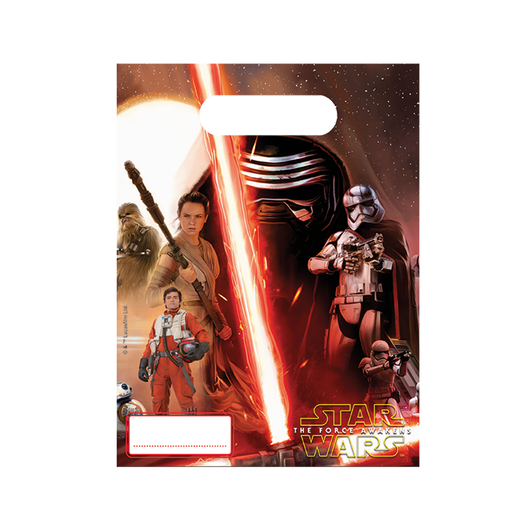 Star Wars The Force Awakens Party Bags 6CT from Pop Cloud Bristol who offer a huge range of partyware, wedding and event hire decorations