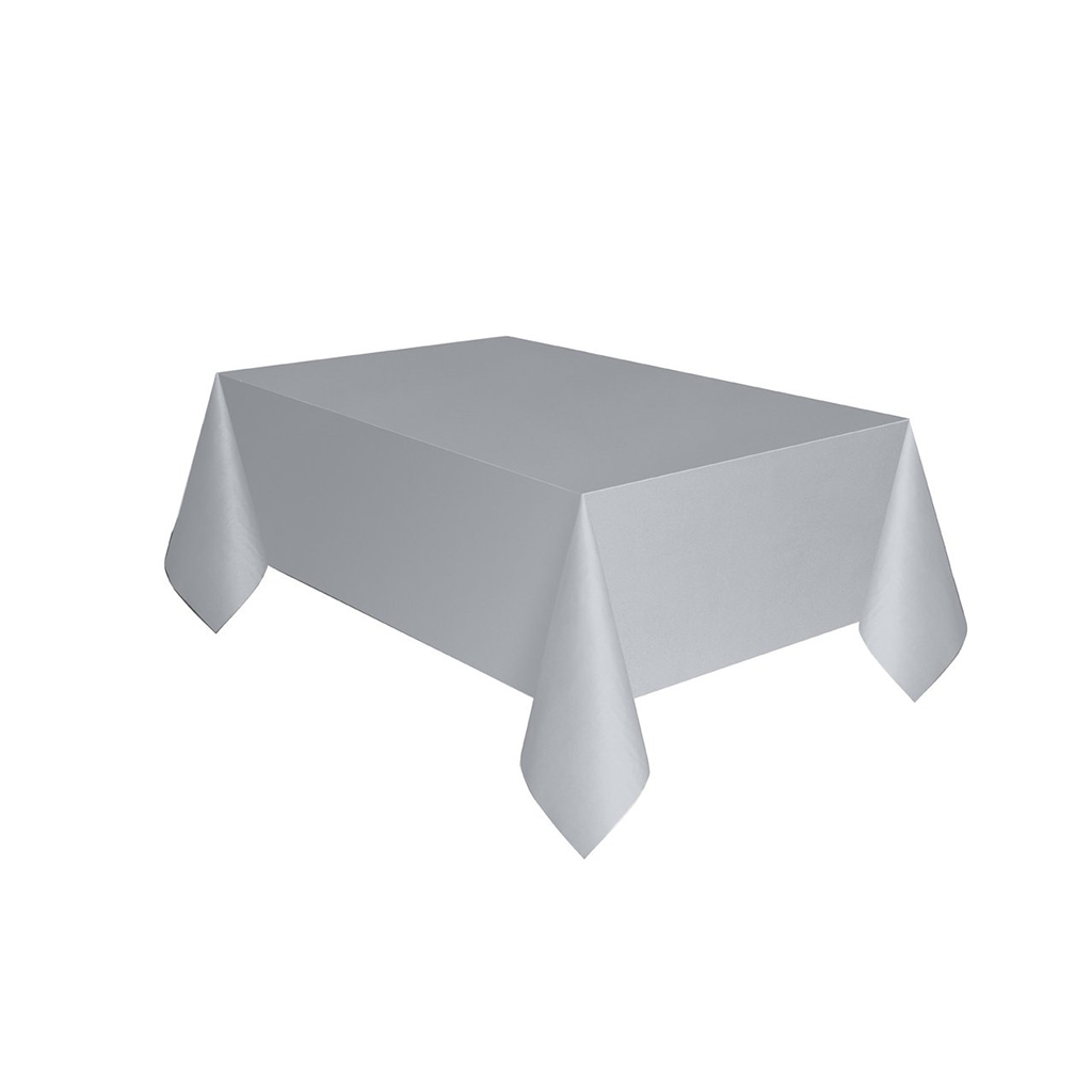 "Silver Plastic Table Cover 54""x108"" from Pop Cloud Bristol who offer a huge range of partyware, wedding and event hire decorations"