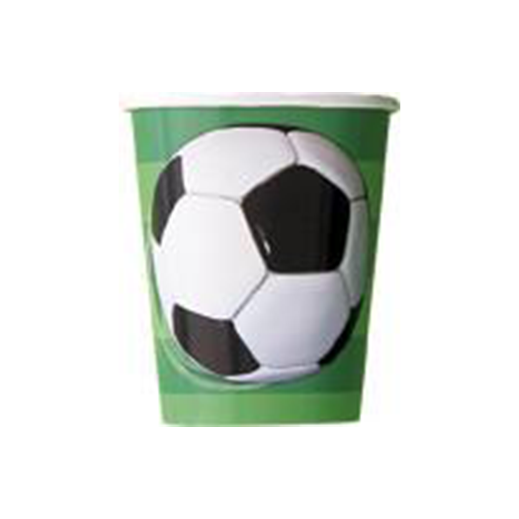 8 3D SOCCERBALL 9OZ CUPS from Flingers Party World Bristol Harbourside who offer a huge range of fancy dress costumes and partyware items