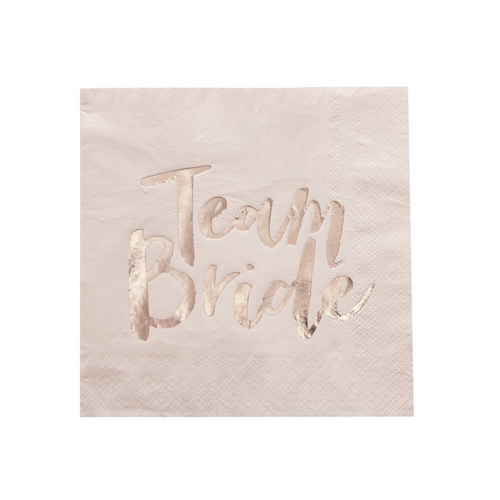 TEAM BRIDE ROSE GOLD FOILED NAPKINS X 20 from Flingers Party World Bristol Harbourside who offer a huge range of fancy dress costumes and partyware items