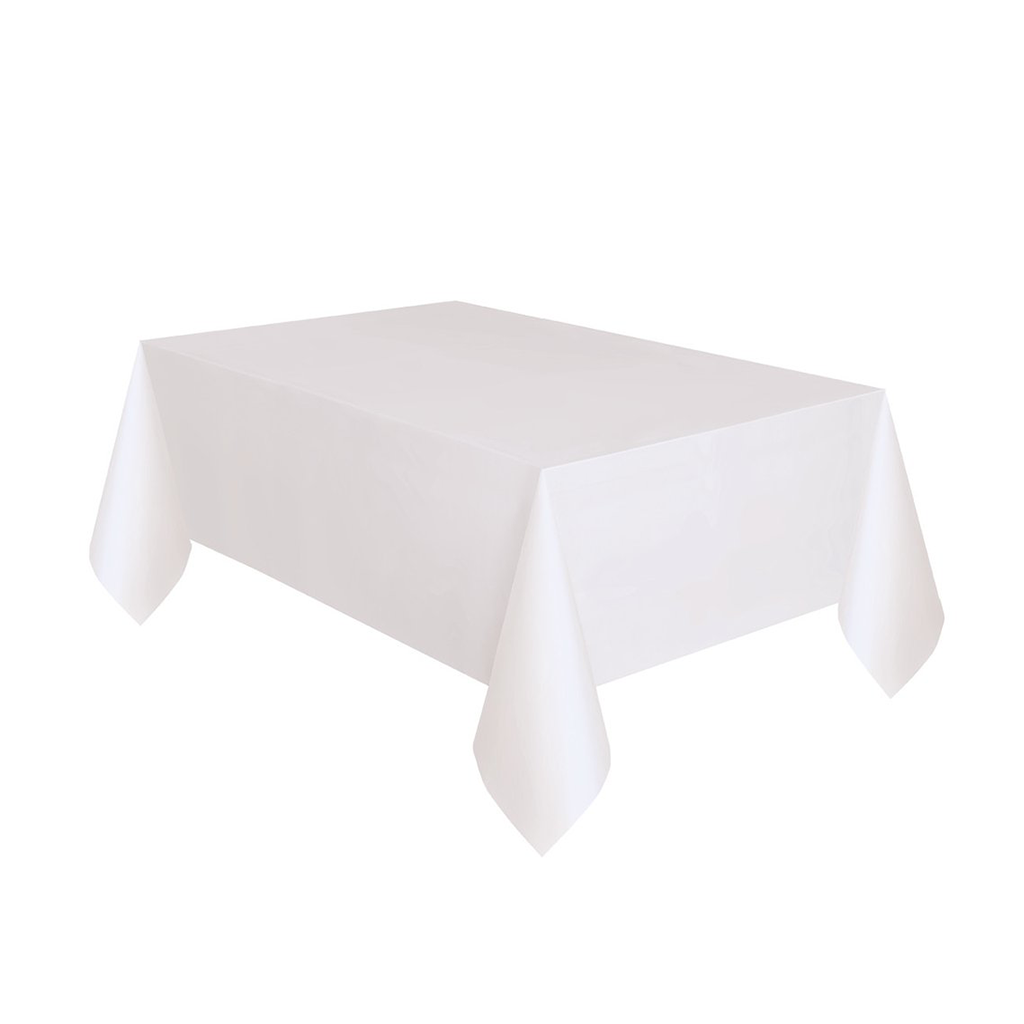 "White Plastic Table Cover 54"" x 108"" from Pop Cloud Bristol who offer a huge range of partyware, wedding and event hire decorations"
