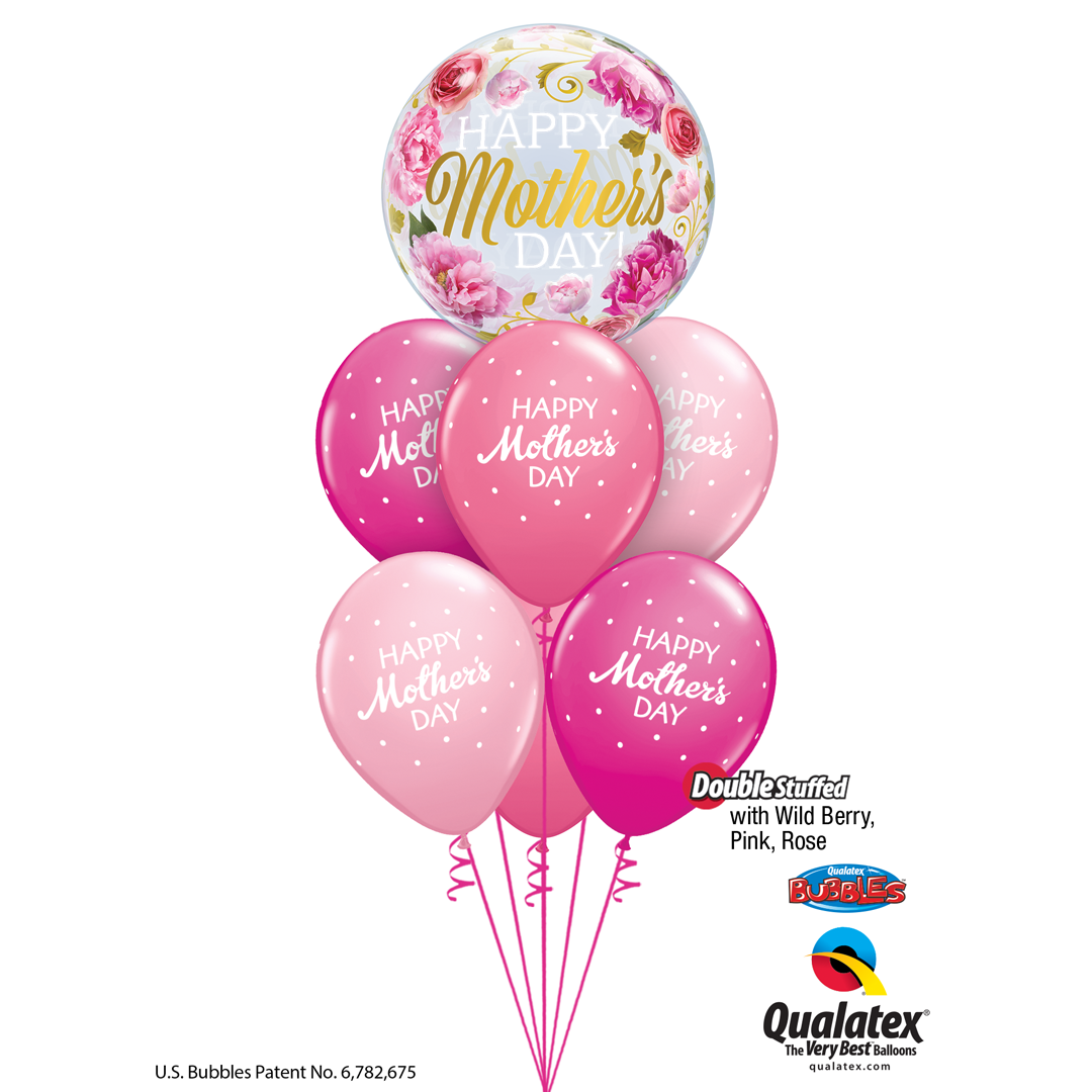 PINK MOTHER'S DAY PETITE POLKA DOTS BALLOON BOUQUET from Flingers Party World Bristol Harbourside who offer a huge range of fancy dress costumes and partyware items