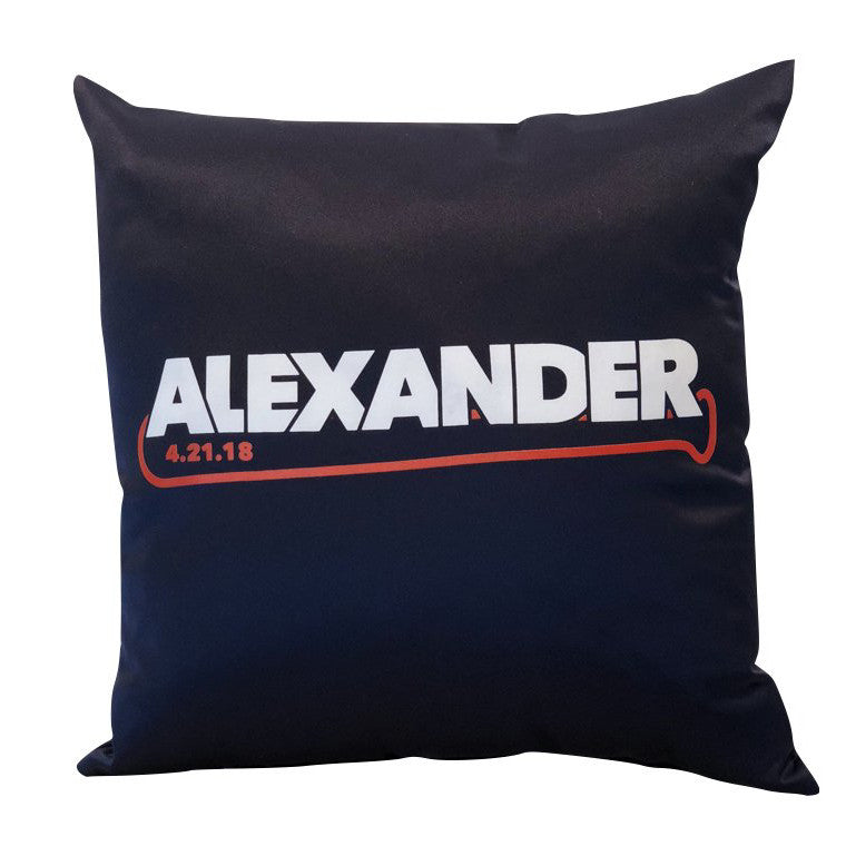Custom 2-Color Screen Print on Navy Pillow