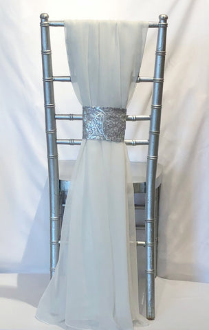 Grecian Drape with Silver Tiara Band