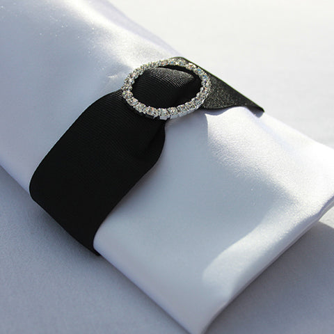 Black Ribbon with Rhinestone Napkin Buckle