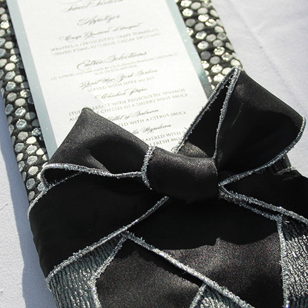 Black Ribbon Napkin Tie with Silver Trim