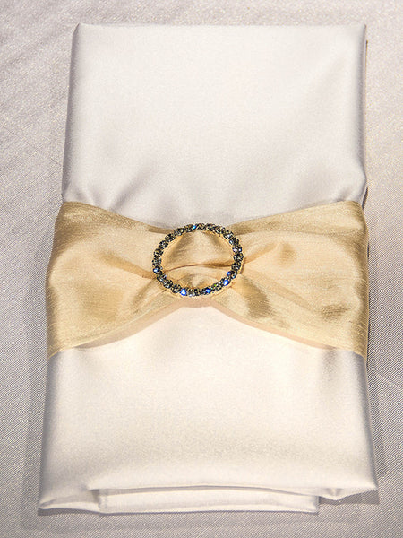 Dupioni Napkin Band with Rhinestone Buckle