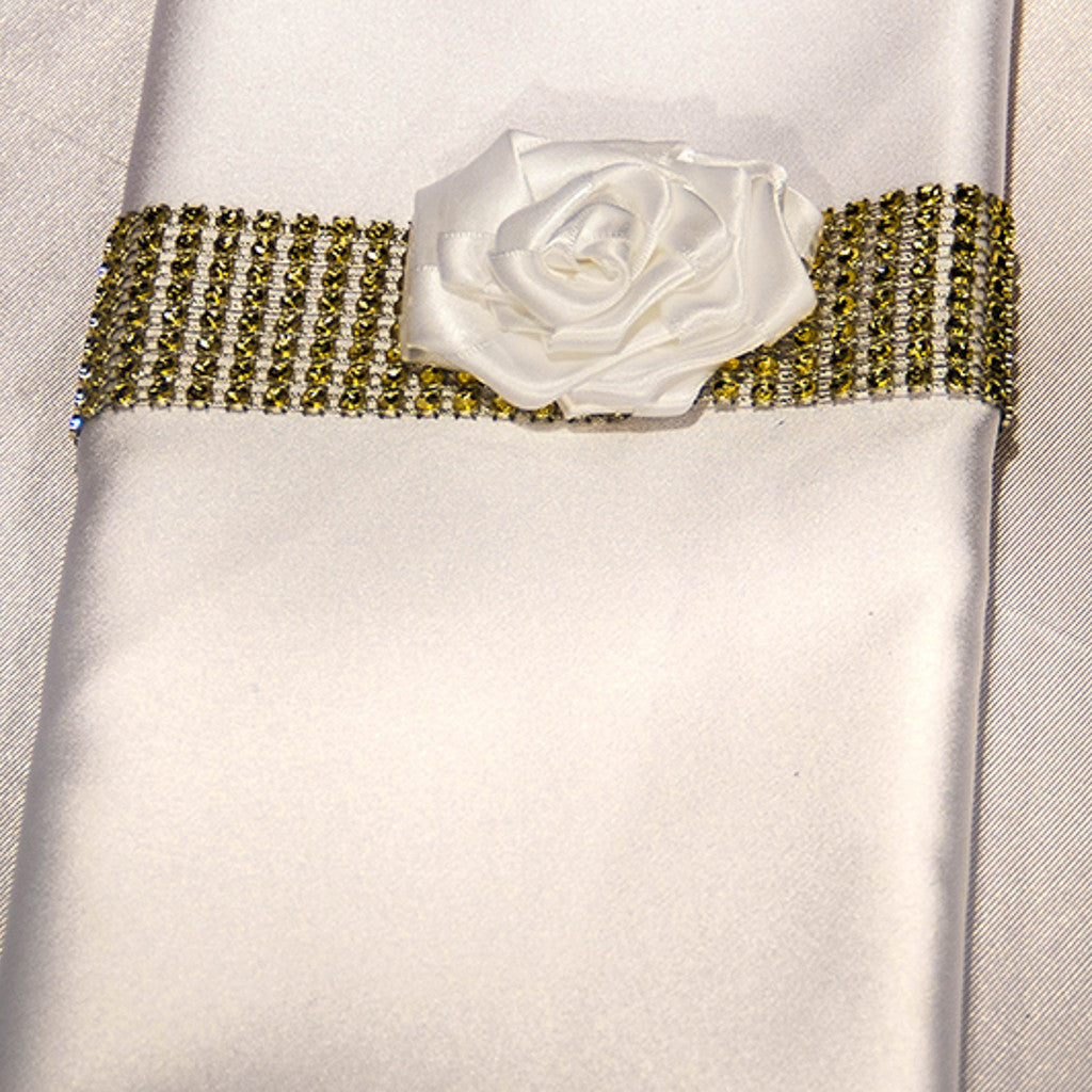 Gold Rhinestone Napkin Band with Rosette