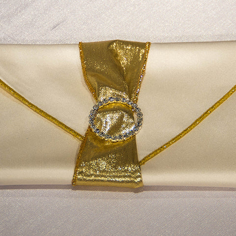 Gold Tissue Lamé Napkin Band with Rhinestone Buckle