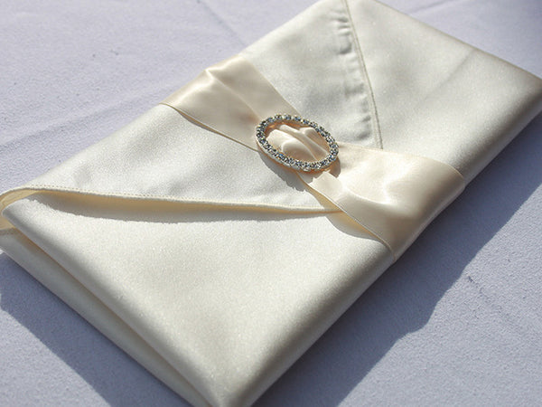 Ivory Satin Napkin Band with Rhinestone Buckle