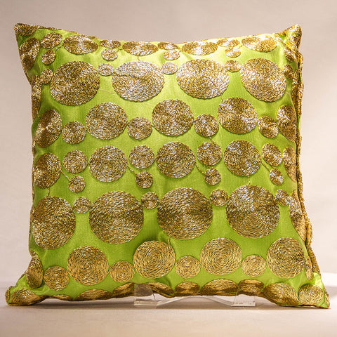 Lime Satin with Gold Coins Pillow