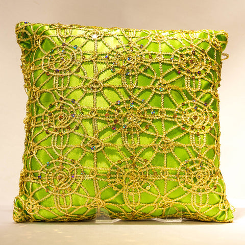 Lime Satin with Gold Dream Lace Pillow