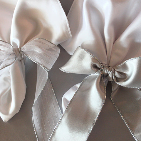 Sheer and Satin Napkin Tie with Trim