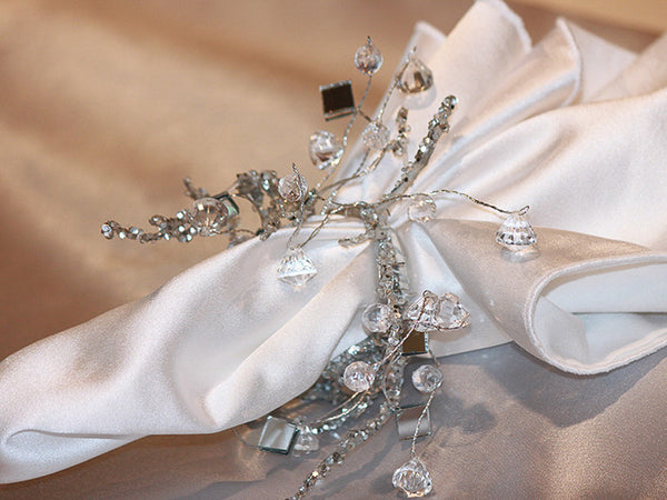 Silver Frost Spray Napkin Band