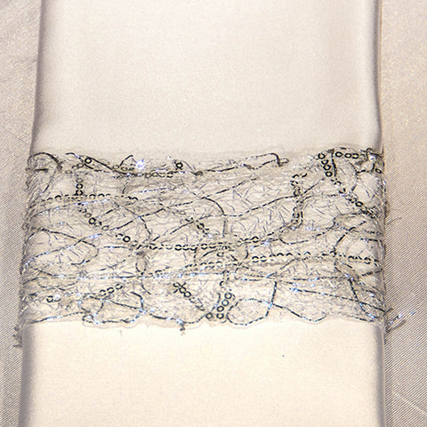 Silver Sequin Web Napkin Band