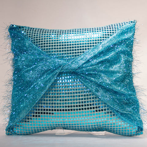 Turquoise Sequins with Eyelash Pillow