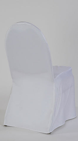White Satin Rounded Ballroom Chair Cover