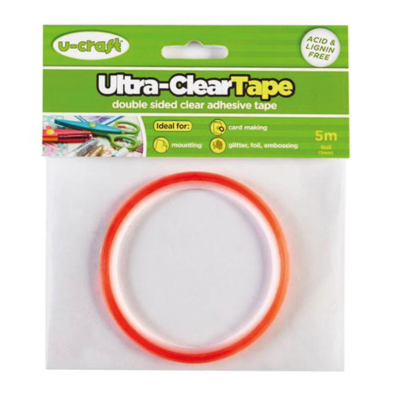 U-Craft Ultra-Clear (red liner) Adhesive Tape 6mm x 5m