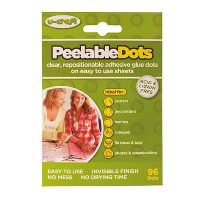 Peelable Glue Dots - 96 x removable glue dots on perforated sheets